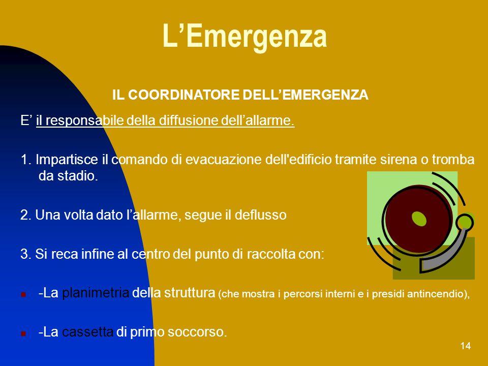 14 LEmergenza E il responsabile della diffusione dellallarme. 1. Impartisce il comando di evacuazione dell'edificio tramite sirena o tromba da stadio.