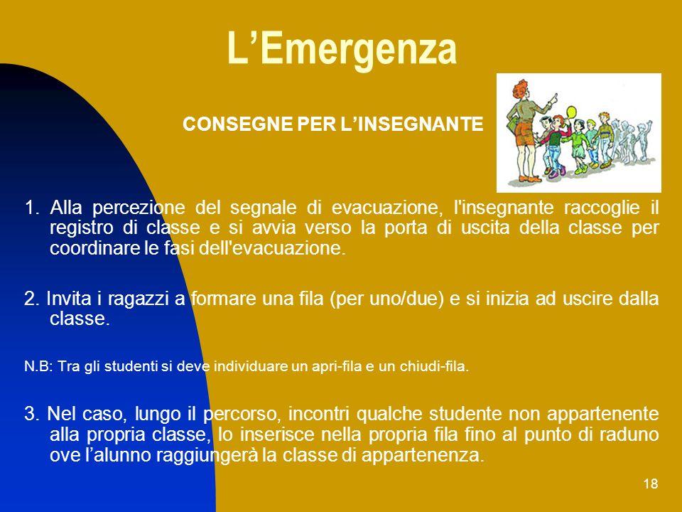 18 LEmergenza 1. Alla percezione del segnale di evacuazione, l'insegnante raccoglie il registro di classe e si avvia verso la porta di uscita della cl