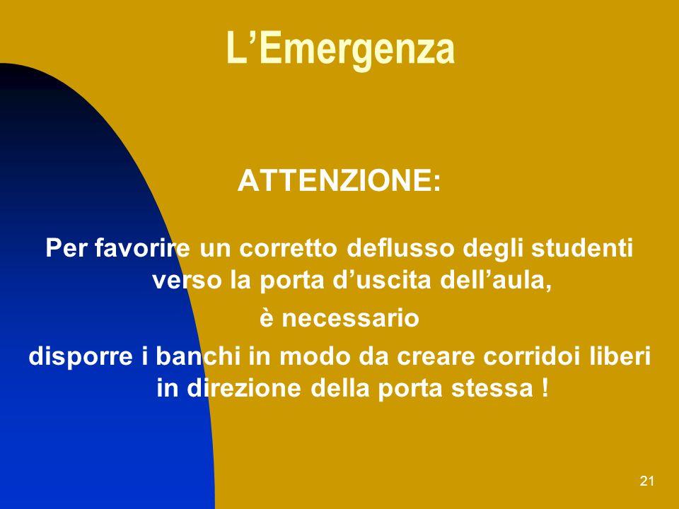 21 LEmergenza ATTENZIONE: Per favorire un corretto deflusso degli studenti verso la porta duscita dellaula, è necessario disporre i banchi in modo da
