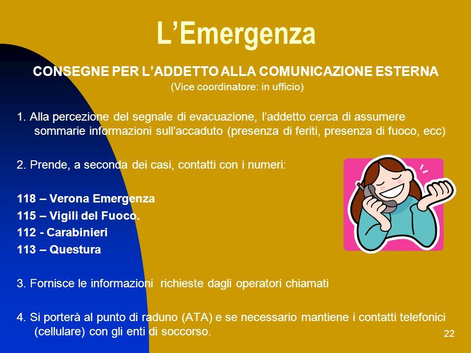 22 LEmergenza CONSEGNE PER LADDETTO ALLA COMUNICAZIONE ESTERNA (Vice coordinatore: in ufficio) 1. Alla percezione del segnale di evacuazione, laddetto