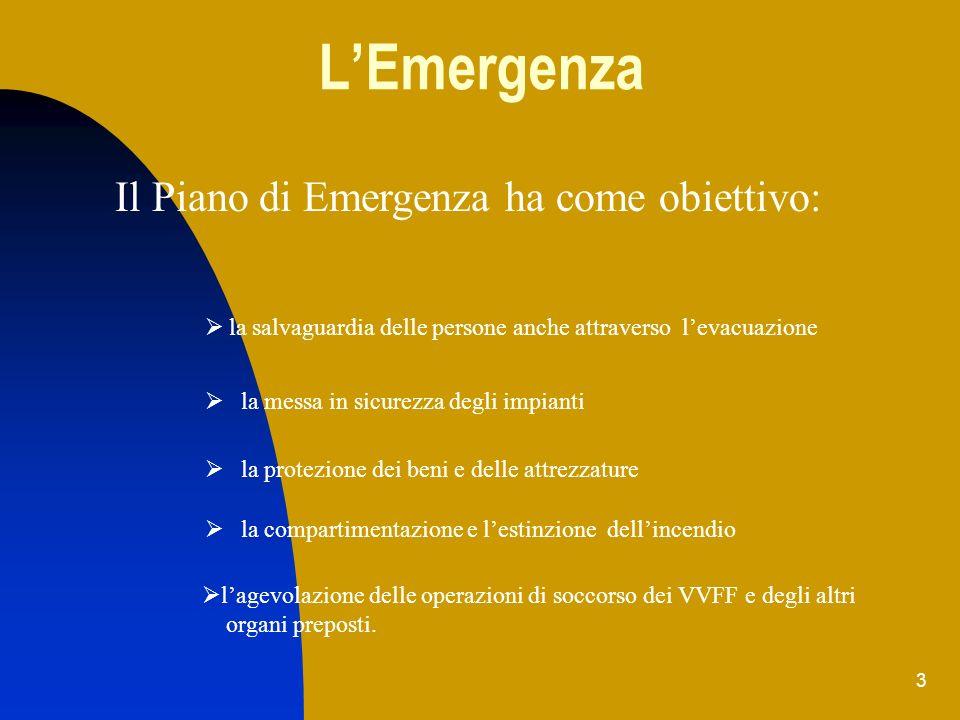 3 LEmergenza lagevolazione delle operazioni di soccorso dei VVFF e degli altri organi preposti. Il Piano di Emergenza ha come obiettivo: la salvaguard