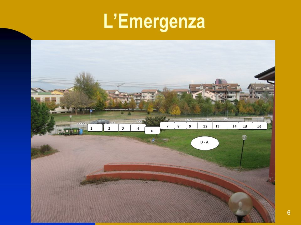6 LEmergenza 1A1AI2I2 34 6 78912I3 14 D - A 1516