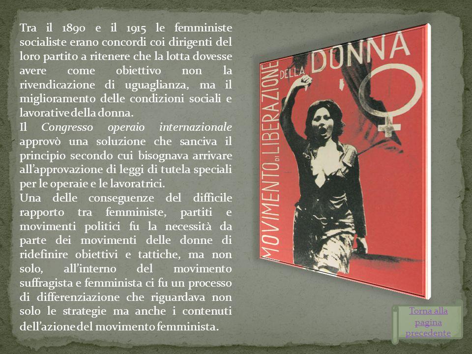 Tra il 1890 e il 1915 le femministe socialiste erano concordi coi dirigenti del loro partito a ritenere che la lotta dovesse avere come obiettivo non
