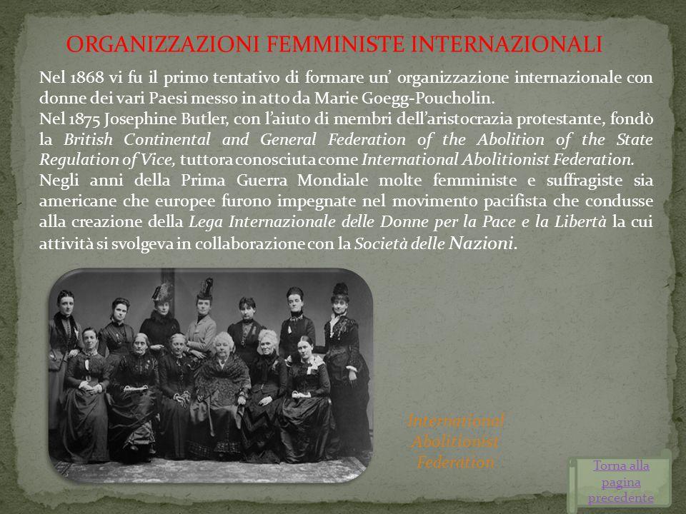 Nel 1868 vi fu il primo tentativo di formare un organizzazione internazionale con donne dei vari Paesi messo in atto da Marie Goegg-Poucholin. Nel 187