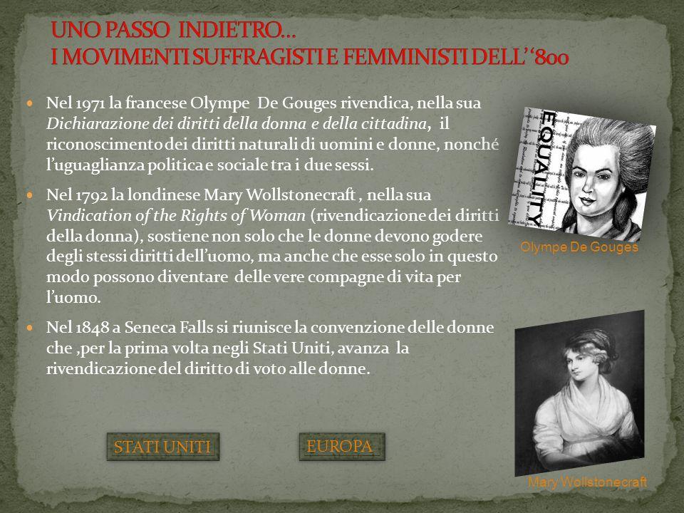 Nel 1971 la francese Olympe De Gouges rivendica, nella sua Dichiarazione dei diritti della donna e della cittadina, il riconoscimento dei diritti natu