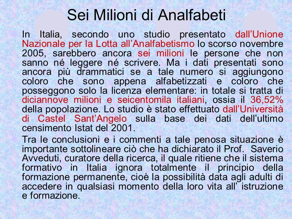 Sei Milioni di Analfabeti In Italia, secondo uno studio presentato dallUnione Nazionale per la Lotta allAnalfabetismo lo scorso novembre 2005, sarebbe