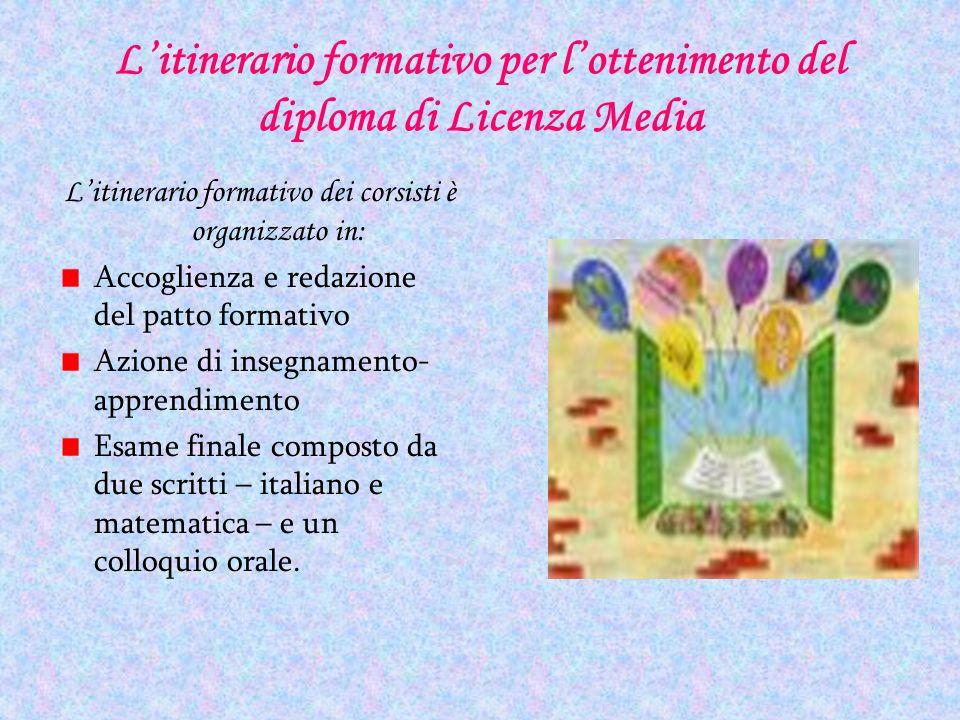 Litinerario formativo per lottenimento del diploma di Licenza Media Litinerario formativo dei corsisti è organizzato in: Accoglienza e redazione del p