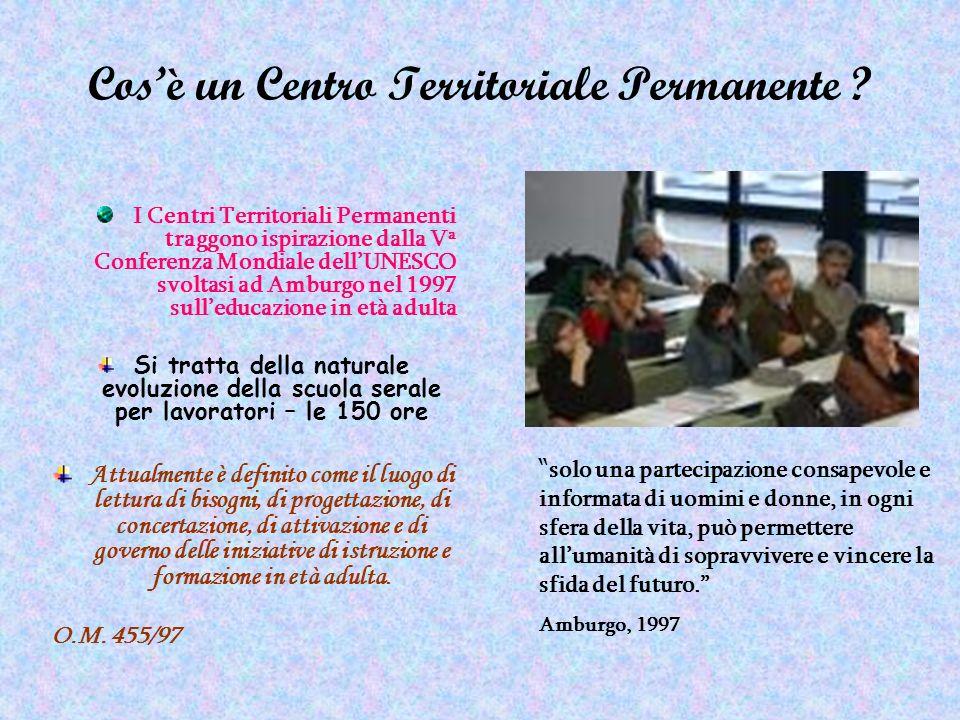 Cosè un Centro Territoriale Permanente ? I Centri Territoriali Permanenti traggono ispirazione dalla V a Conferenza Mondiale dellUNESCO svoltasi ad Am