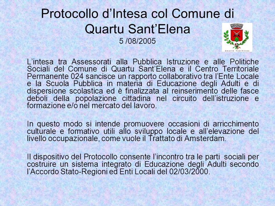 Protocollo dIntesa col Comune di Quartu SantElena 5 /08/2005 Lintesa tra Assessorati alla Pubblica Istruzione e alle Politiche Sociali del Comune di Q