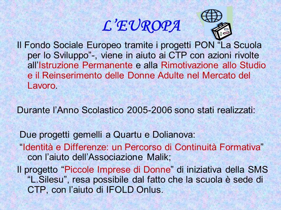 LEUROPA Il Fondo Sociale Europeo tramite i progetti PON La Scuola per lo Sviluppo-, viene in aiuto ai CTP con azioni rivolte allIstruzione Permanente