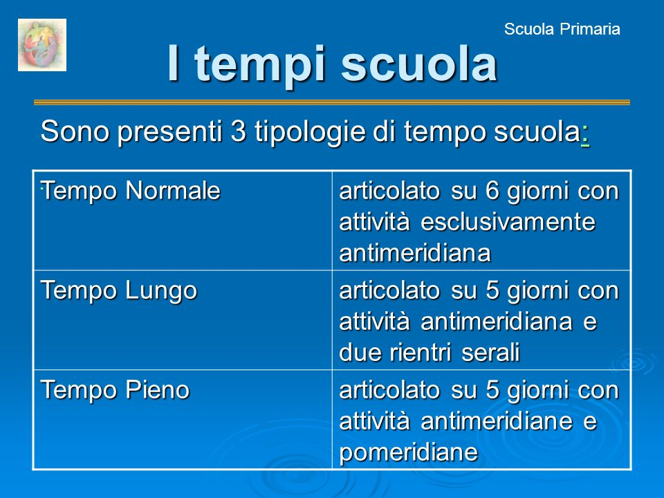 Scuola Primaria I tempi scuola Sono presenti 3 tipologie di tempo scuola: : Tempo Normale articolato su 6 giorni con attività esclusivamente antimerid