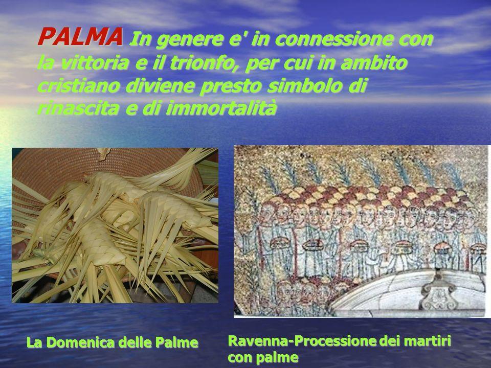 PALMA In genere e in connessione con la vittoria e il trionfo, per cui in ambito cristiano diviene presto simbolo di rinascita e di immortalità La Domenica delle Palme Ravenna-Processione dei martiri Ravenna-Processione dei martiri con palme con palme