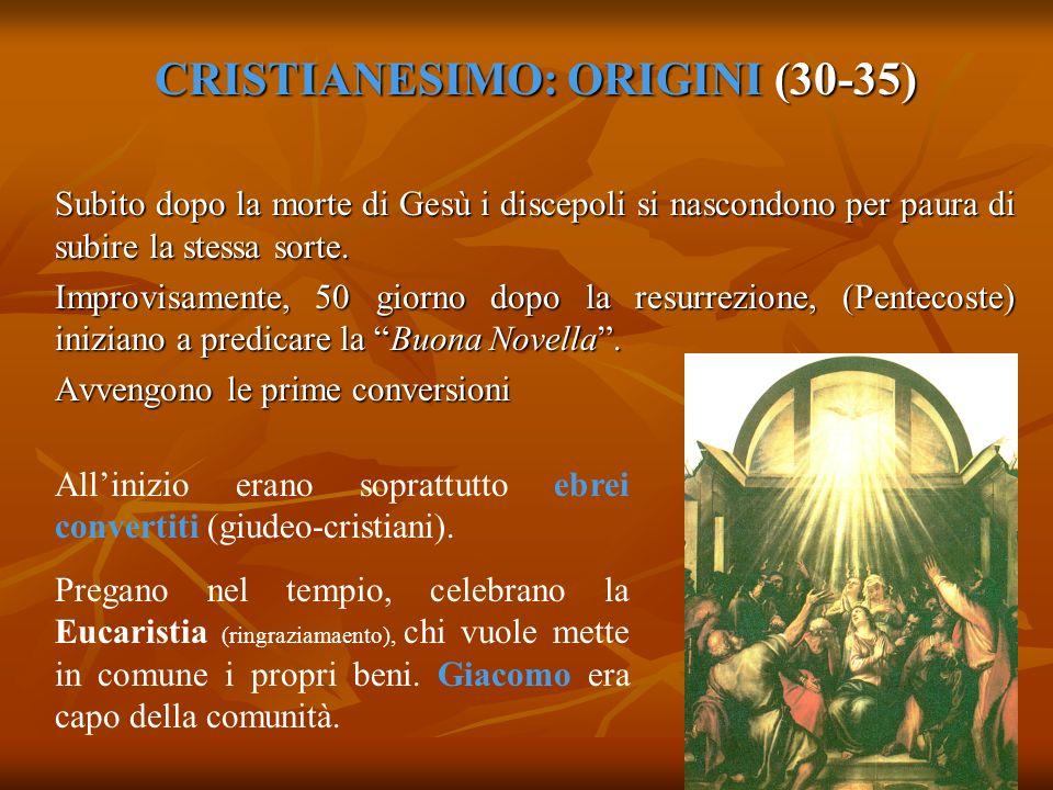 CRISTIANESIMO: ORIGINI (30-35) Subito dopo la morte di Gesù i discepoli si nascondono per paura di subire la stessa sorte. Improvisamente, 50 giorno d