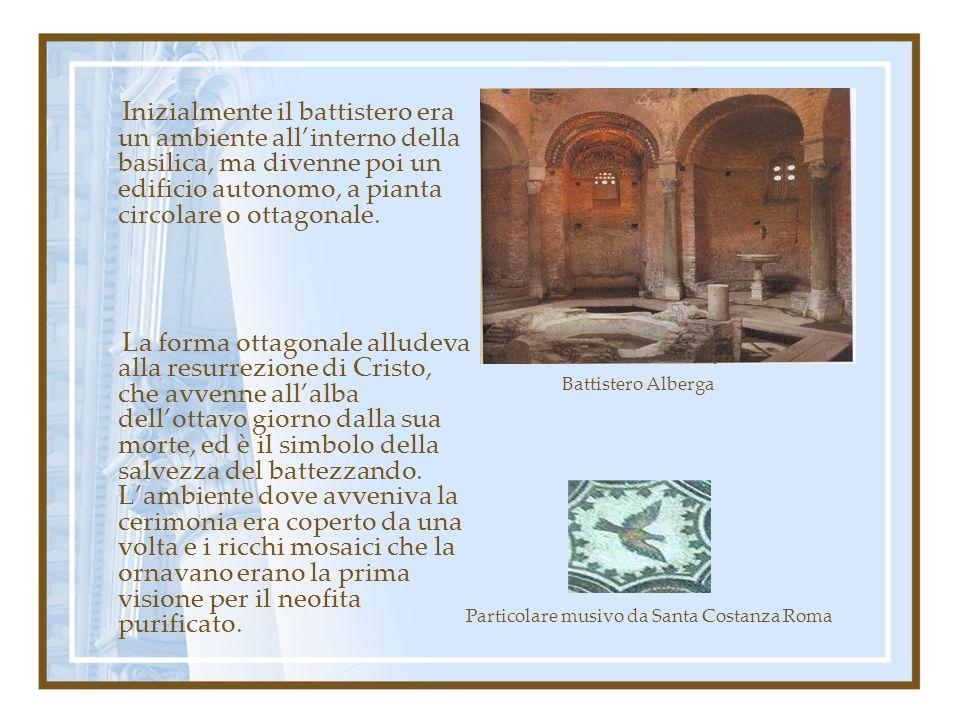 Inizialmente il battistero era un ambiente allinterno della basilica, ma divenne poi un edificio autonomo, a pianta circolare o ottagonale. La forma o