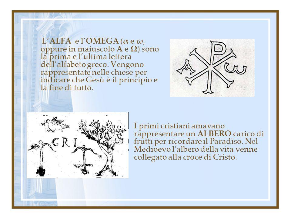 LALFA e lOMEGA (α e ω, oppure in maiuscolo A e Ω) sono la prima e lultima lettera dellalfabeto greco. Vengono rappresentate nelle chiese per indicare