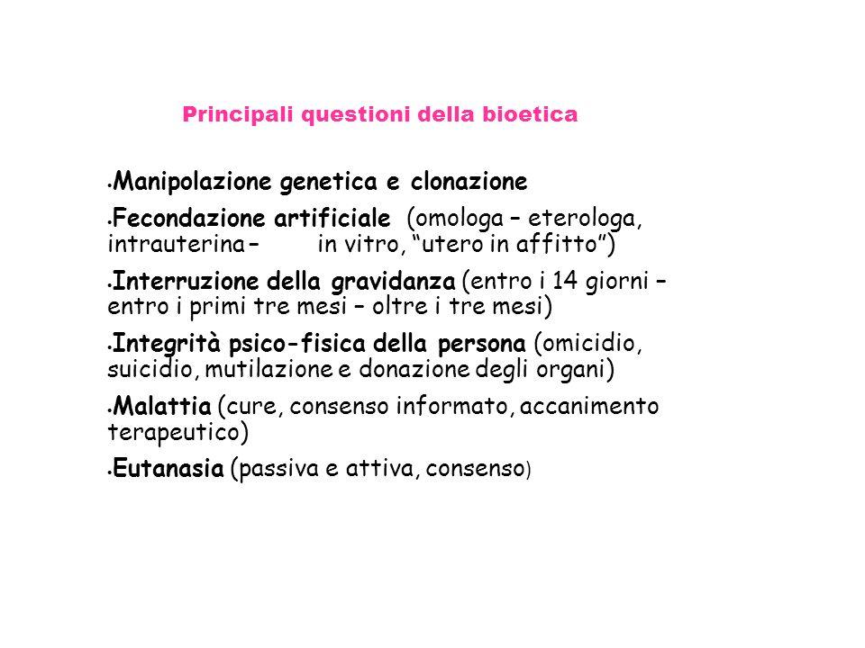 Principali questioni della bioetica Manipolazione genetica e clonazione Fecondazione artificiale (omologa – eterologa, intrauterina – in vitro, utero