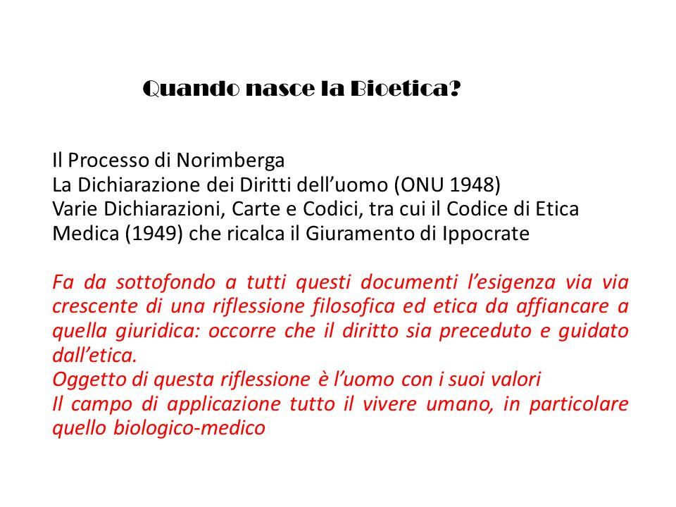 Quando nasce la Bioetica? Il Processo di Norimberga La Dichiarazione dei Diritti delluomo (ONU 1948) Varie Dichiarazioni, Carte e Codici, tra cui il C