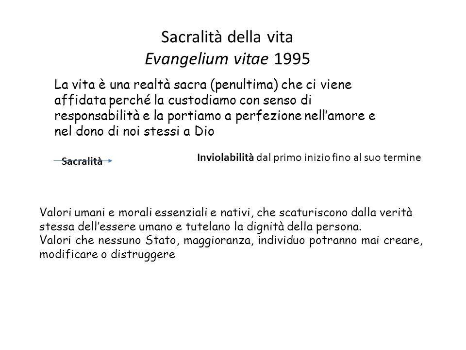 Bioetica cattolica Ciò che caratterizza la bioetica cattolica è l accento posto sul valore sacro della vita umana, dal primo inizio fino al suo termine (Giovanni Paolo II, lettera enciclica Evangelium Vitæ n.