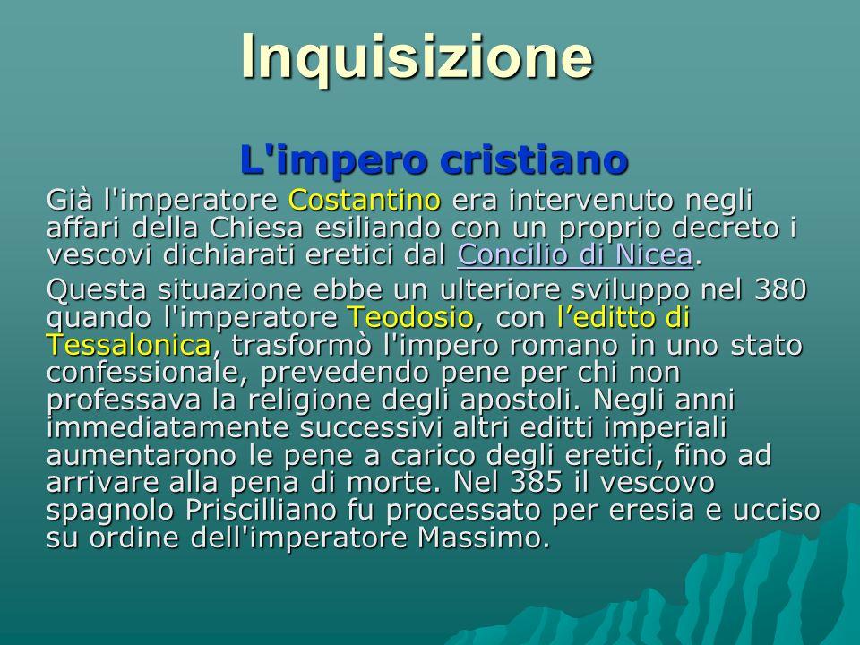 Inquisizione spagnola L Inquisizione spagnola nacque nel 1478 per iniziativa di Ferdinando II d Aragona e Isabella di Castiglia e fu ufficializzata da una bolla di Papa Sisto IV.