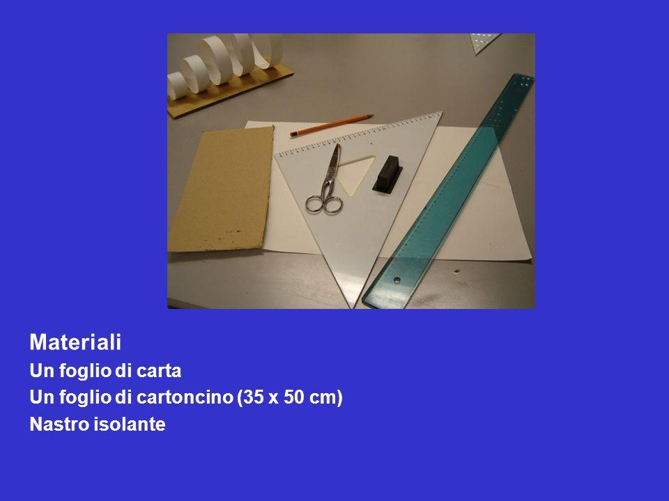 Materiali Un foglio di carta Un foglio di cartoncino (35 x 50 cm) Nastro isolante