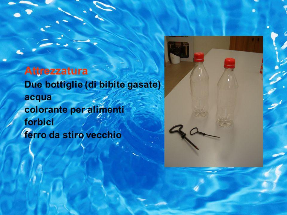 Attrezzatura Due bottiglie (di bibite gasate) acqua colorante per alimenti forbici ferro da stiro vecchio