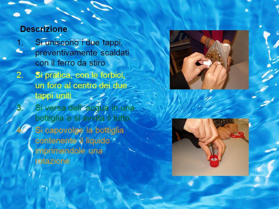 Descrizione 1.Si uniscono i due tappi, preventivamente scaldati con il ferro da stiro 2.Si pratica, con le forbici, un foro al centro dei due tappi un