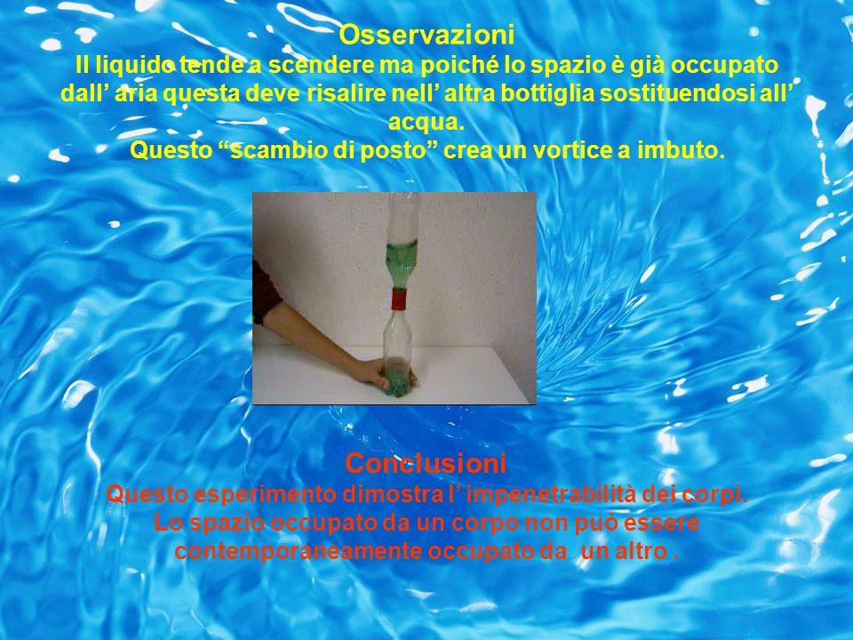 Osservazioni Il liquido tende a scendere ma poiché lo spazio è già occupato dall aria questa deve risalire nell altra bottiglia sostituendosi all acqu