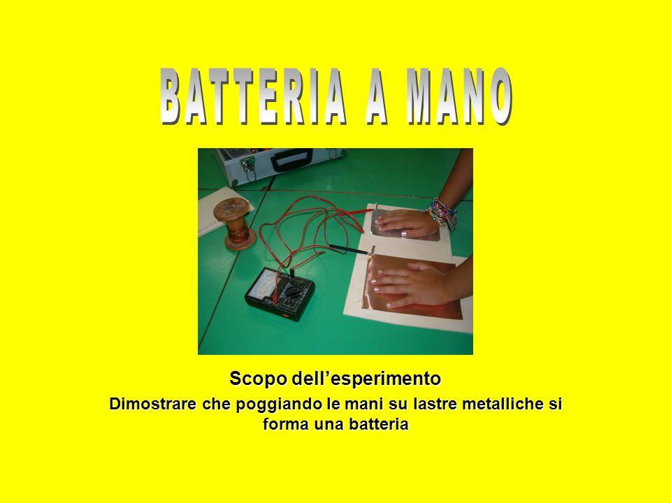 Scopo dellesperimento Dimostrare che poggiando le mani su lastre metalliche si forma una batteria