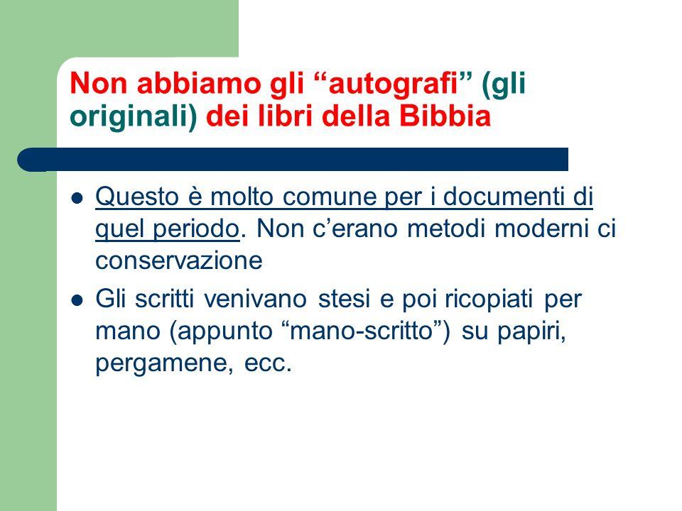 Non abbiamo gli autografi (gli originali) dei libri della Bibbia Questo è molto comune per i documenti di quel periodo.