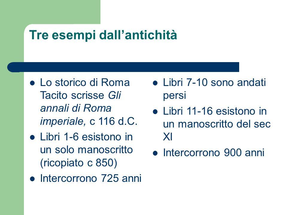 Tre esempi dallantichità Lo storico di Roma Tacito scrisse Gli annali di Roma imperiale, c 116 d.C. Libri 1-6 esistono in un solo manoscritto (ricopia