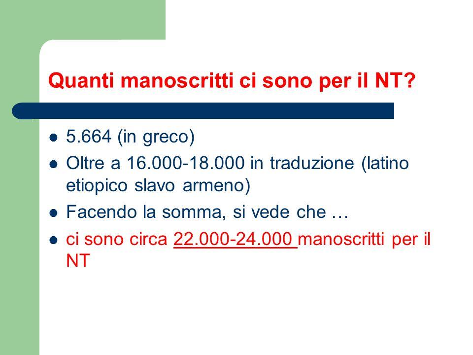 Quanti manoscritti ci sono per il NT.