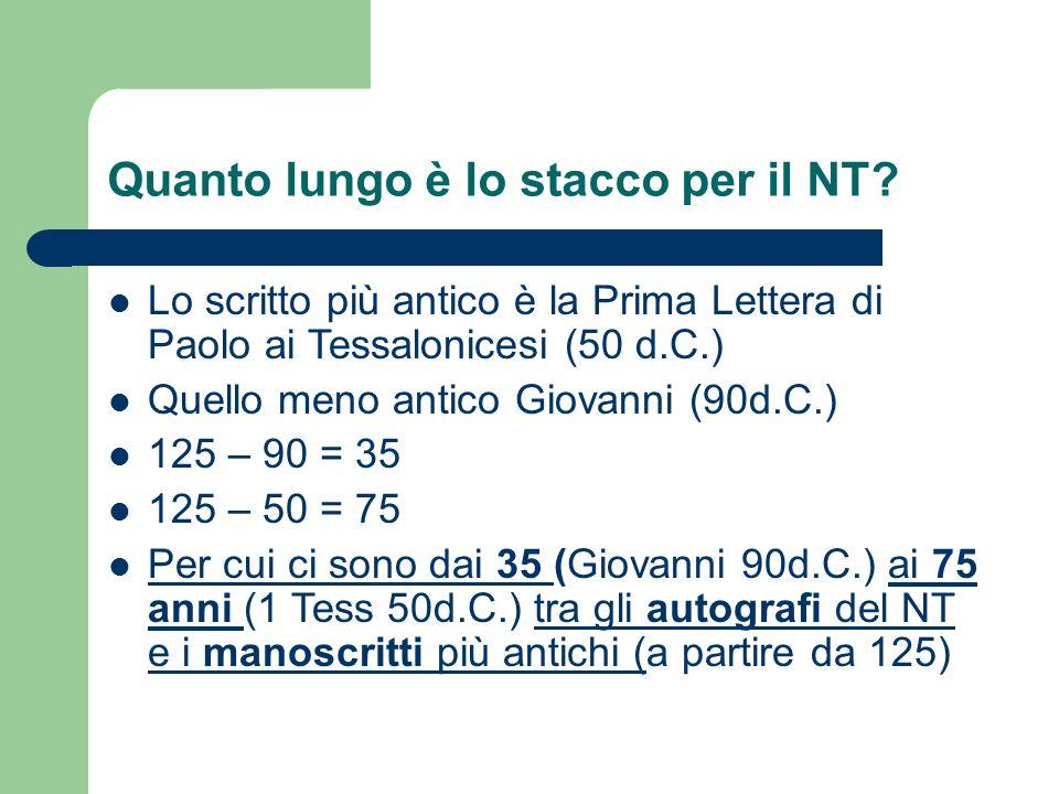 Quanto lungo è lo stacco per il NT.