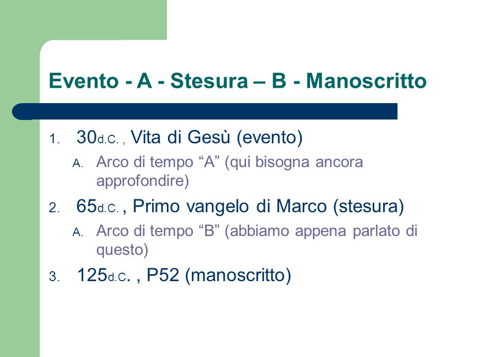 Evento - A - Stesura – B - Manoscritto 1. 30 d.C., Vita di Gesù (evento) A. Arco di tempo A (qui bisogna ancora approfondire) 2. 65 d.C., Primo vangel