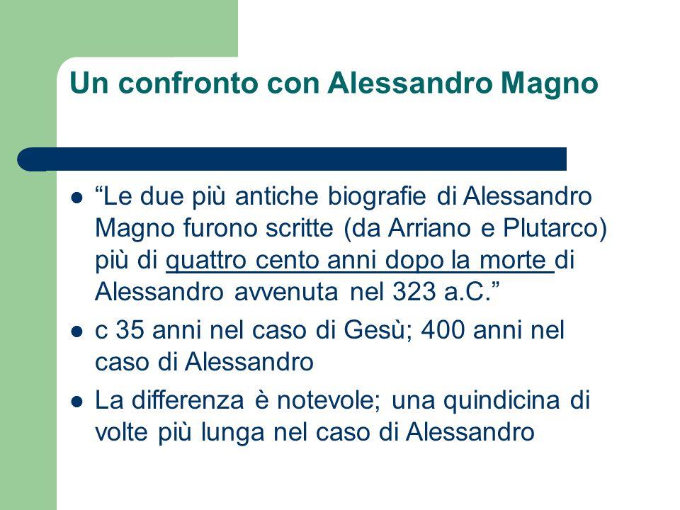 Un confronto con Alessandro Magno Le due più antiche biografie di Alessandro Magno furono scritte (da Arriano e Plutarco) più di quattro cento anni dopo la morte di Alessandro avvenuta nel 323 a.C.