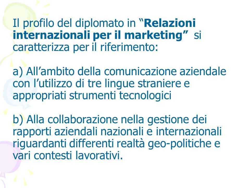 Il profilo del diplomato in Relazioni internazionali per il marketing si caratterizza per il riferimento: a) Allambito della comunicazione aziendale c