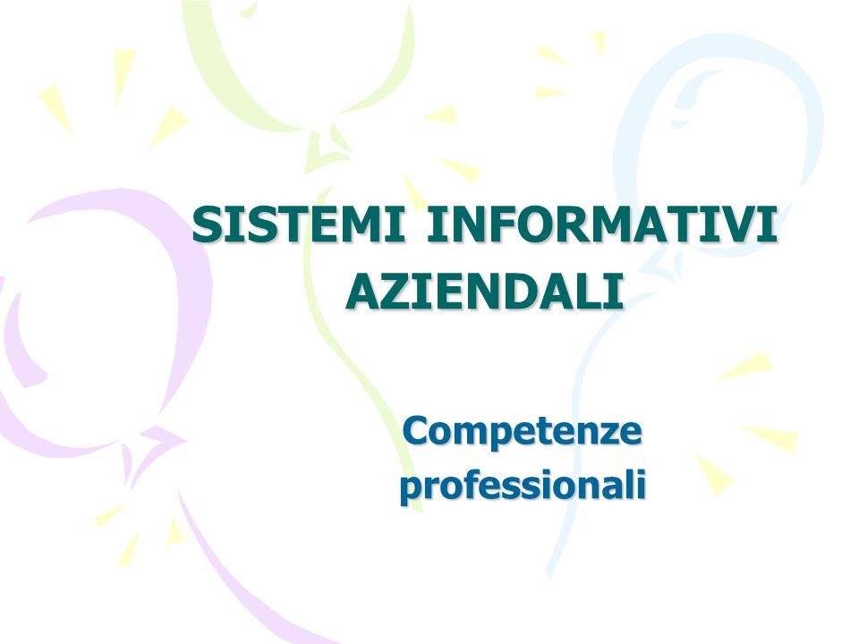 SISTEMI INFORMATIVI AZIENDALI Competenzeprofessionali