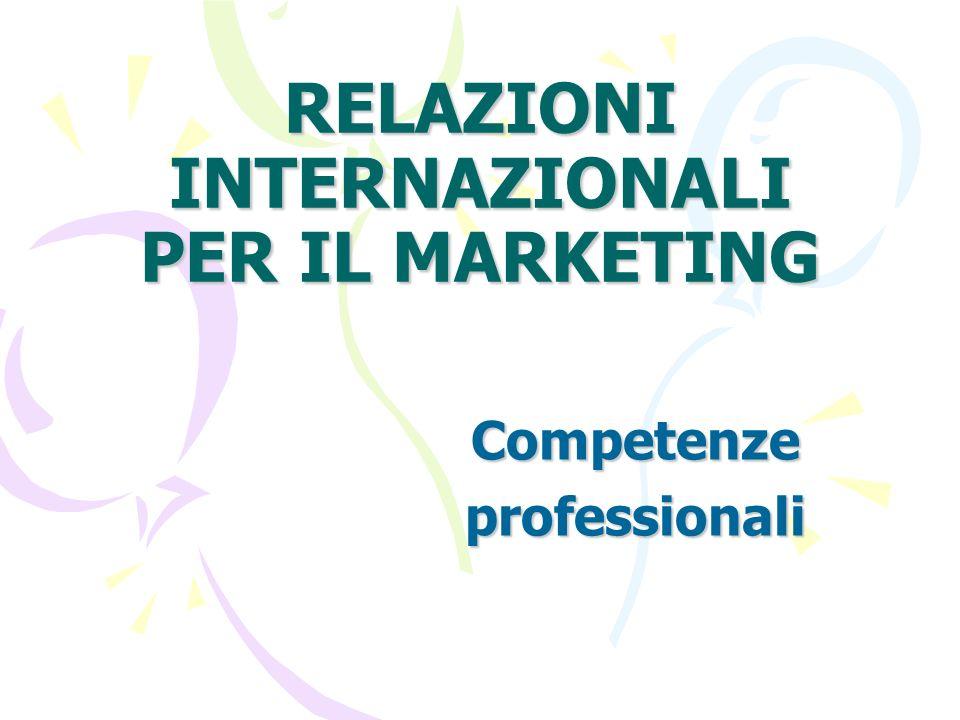 RELAZIONI INTERNAZIONALI PER IL MARKETING Competenzeprofessionali