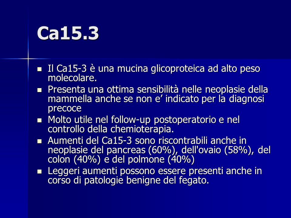 Ca15.3 Il Ca15-3 è una mucina glicoproteica ad alto peso molecolare. Il Ca15-3 è una mucina glicoproteica ad alto peso molecolare. Presenta una ottima