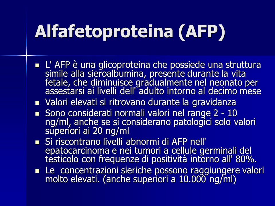 Alfafetoproteina (AFP) L' AFP è una glicoproteina che possiede una struttura simile alla sieroalbumina, presente durante la vita fetale, che diminuisc