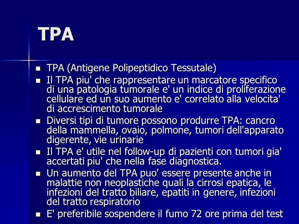 TPA TPA (Antigene Polipeptidico Tessutale) TPA (Antigene Polipeptidico Tessutale) Il TPA piu' che rappresentare un marcatore specifico di una patologi