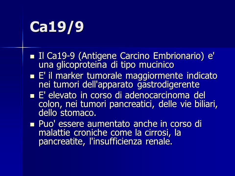 CYFRA 21-1 Frammento solubile della citocheratina 19 Frammento solubile della citocheratina 19 Il CYFRA 21-1 ha una buona sensibilità diagnostica nel carcinoma polmonare, indipendentemente dagli istotipi (50-70%), Il CYFRA 21-1 ha una buona sensibilità diagnostica nel carcinoma polmonare, indipendentemente dagli istotipi (50-70%), Il CYFRA 21-1 non è specifico del tumore polmonare, in quanto elevate concentrazioni sono osservate anche in patologie benigne polmonari (25%), nonché nel carcinoma mammario (30%) e colon-rettale (35%) Il CYFRA 21-1 non è specifico del tumore polmonare, in quanto elevate concentrazioni sono osservate anche in patologie benigne polmonari (25%), nonché nel carcinoma mammario (30%) e colon-rettale (35%)