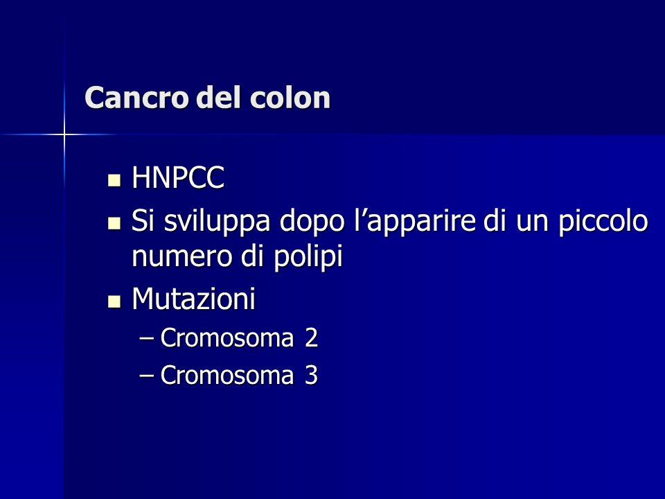 Cancro del colon HNPCC HNPCC Si sviluppa dopo lapparire di un piccolo numero di polipi Si sviluppa dopo lapparire di un piccolo numero di polipi Mutaz