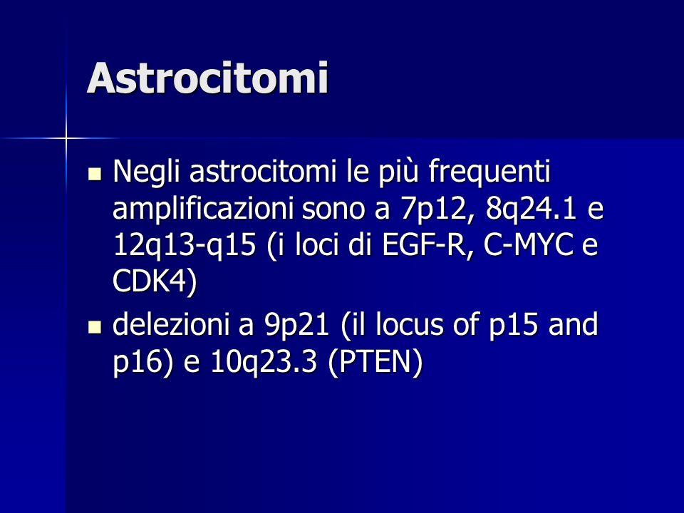 Astrocitomi Negli astrocitomi le più frequenti amplificazioni sono a 7p12, 8q24.1 e 12q13-q15 (i loci di EGF-R, C-MYC e CDK4) Negli astrocitomi le più