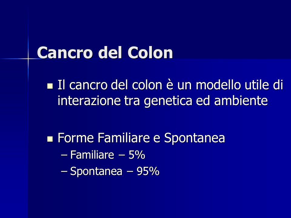 Cancro del Colon Il cancro del colon è un modello utile di interazione tra genetica ed ambiente Il cancro del colon è un modello utile di interazione