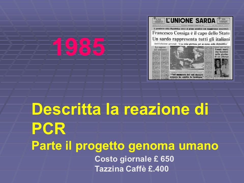 Descritta la reazione di PCR Parte il progetto genoma umano Costo giornale £ 650 Tazzina Caffè £.400 1985