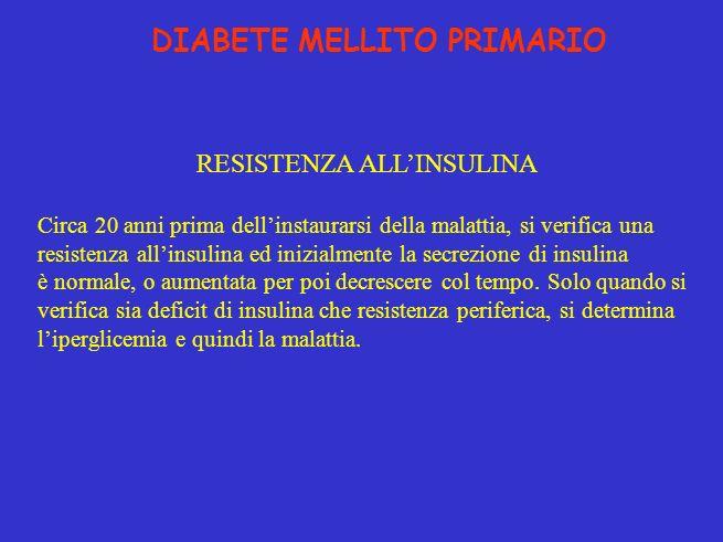 DIABETE MELLITO PRIMARIO RESISTENZA ALLINSULINA Circa 20 anni prima dellinstaurarsi della malattia, si verifica una resistenza allinsulina ed inizialmente la secrezione di insulina è normale, o aumentata per poi decrescere col tempo.