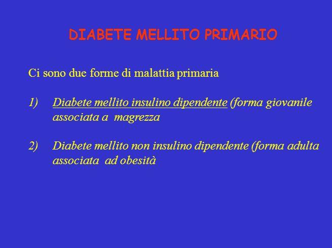 DIABETE MELLITO PRIMARIO Ci sono due forme di malattia primaria 1)Diabete mellito insulino dipendente (forma giovanile associata a magrezza 2)Diabete mellito non insulino dipendente (forma adulta associata ad obesità