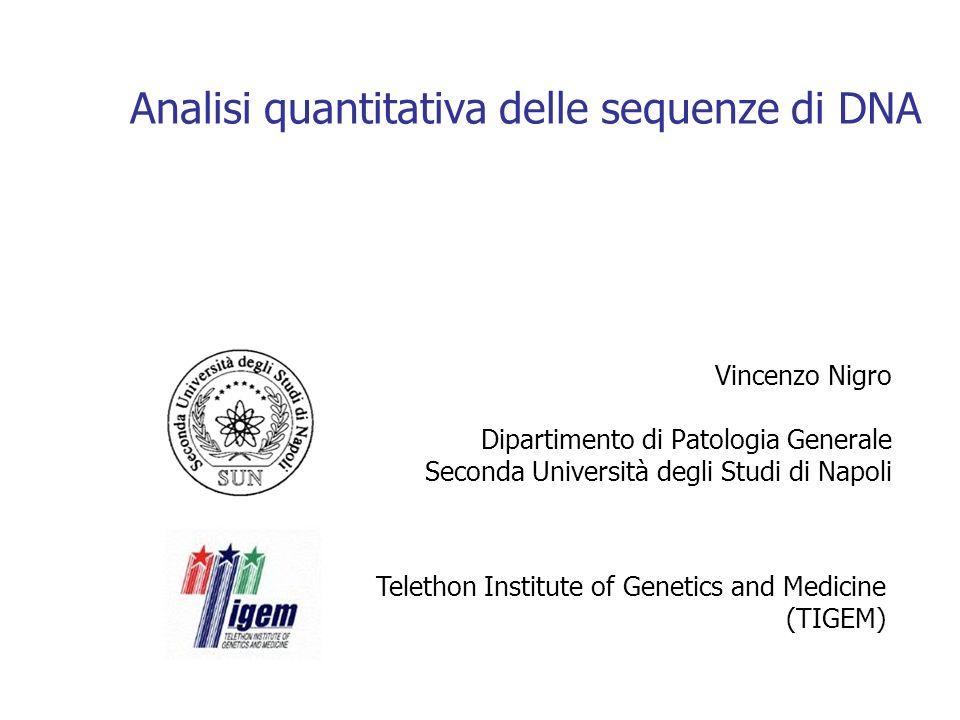 Analisi quantitativa delle sequenze di DNA Vincenzo Nigro Dipartimento di Patologia Generale Seconda Università degli Studi di Napoli Telethon Institute of Genetics and Medicine (TIGEM)
