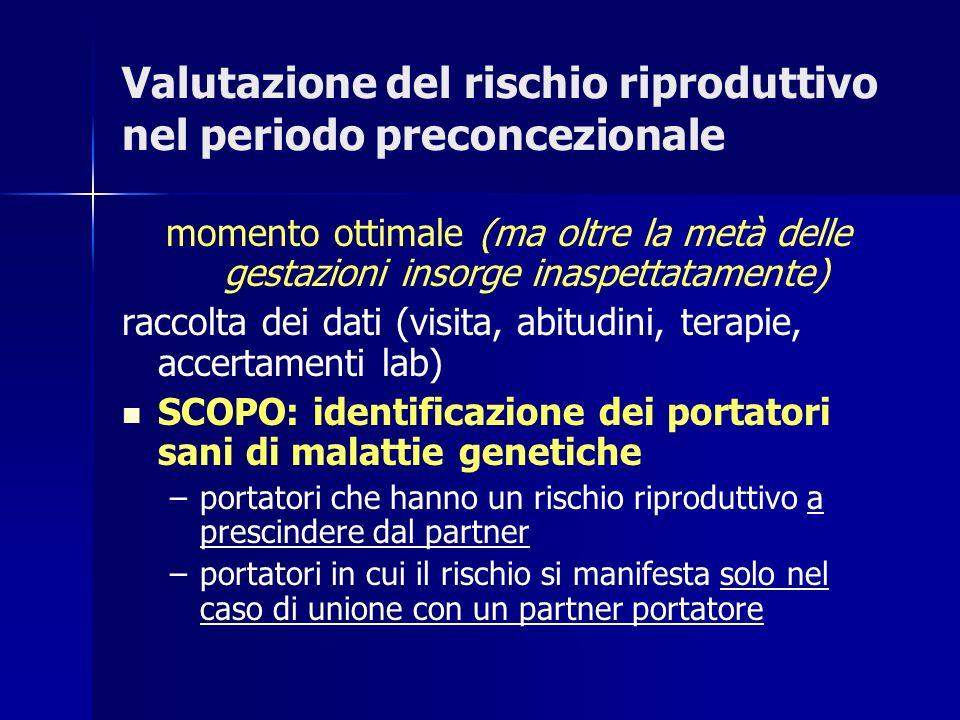 Un precedente figlio con anomalie cromosomiche Aumenta il rischio in caso di: tutte le trisomie non mosaico 47, XXY (s.