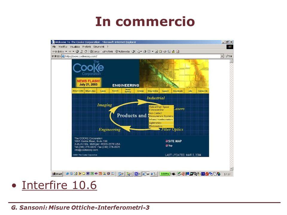 G. Sansoni: Misure Ottiche-Interferometri-3 In commercio Interfire 10.6